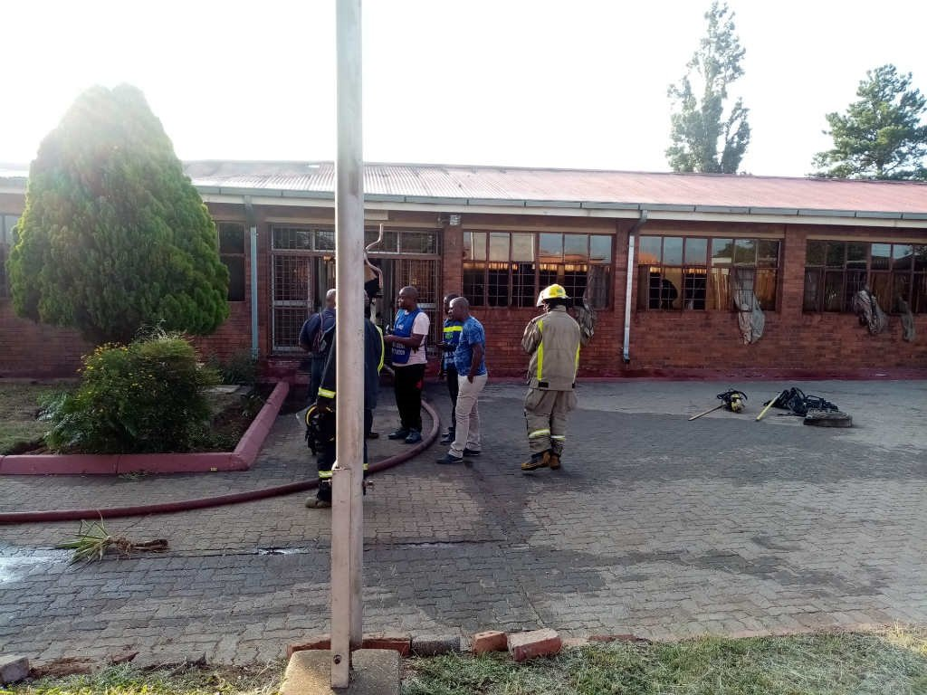 Khutlo-Tharo Secondary School in Sebokeng was damaged in a fire in the early hours of the morning. (Ntwaagae Seleka/News24)