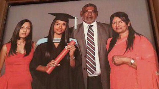 Shane, Danpaul and Queenie Naidoo drowned at Zimbali beach at the weekend. Sarnia (in graduation gown) is the only surviving member.