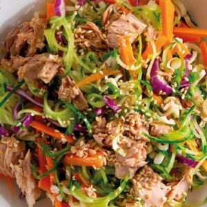 Cucumber noodle and tuna bowls