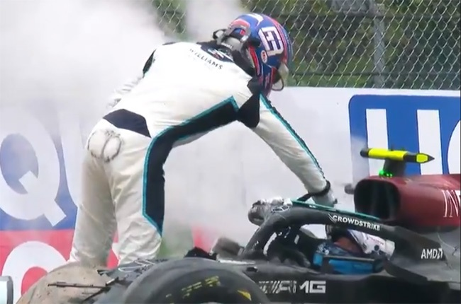 George Russell says he just 'brushed' Valtteri Bottas' helmet after the crash at the Imola Grand Prix.