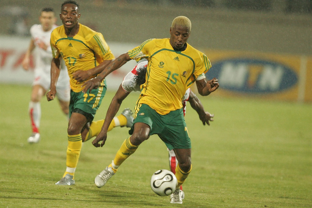 Benni McCarthy and Sibusiso Zuma during the African Cup of Nations match against Tunisia in 2006. Picture: Lefty Shivambu\Gallo Images