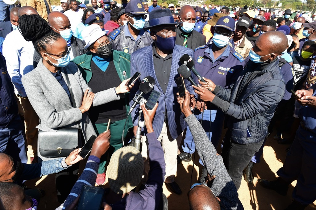 Police Minister Bheki Cele visited the community of Zandspruit, following a mob attack incident in the area and discussed policing and effort to ensure residents do not take the law into their own hands. Photo: Morapedi Mashashe