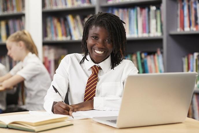 portrait of female high school student wearing uni