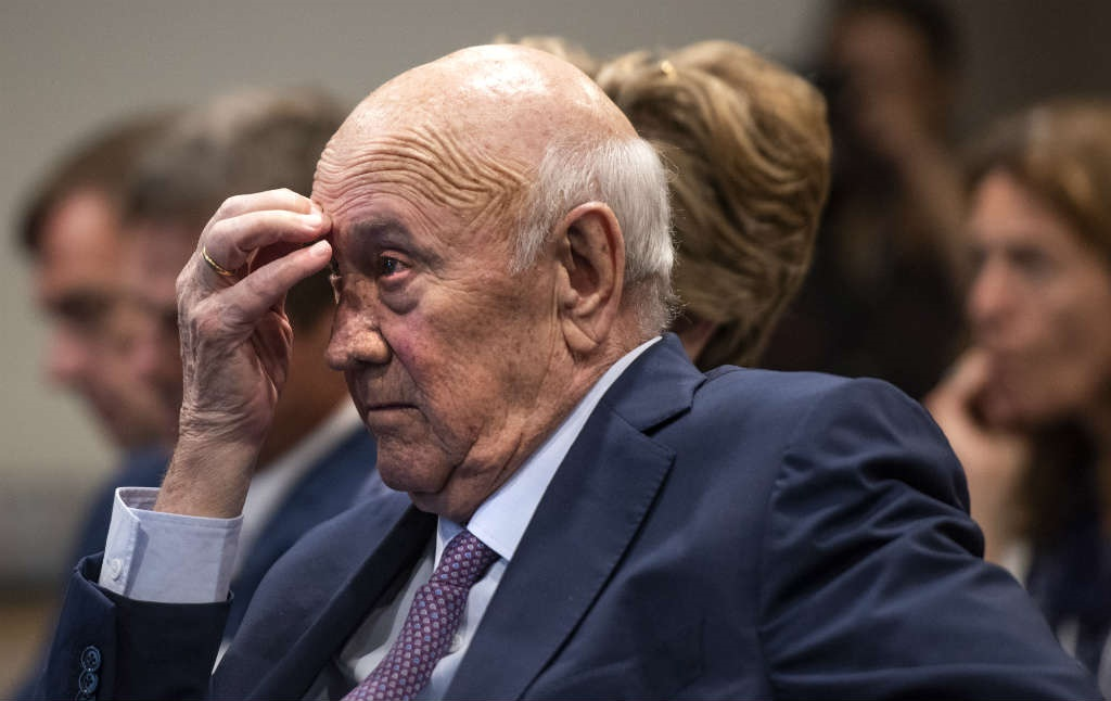 WATCH | FW de Klerk must apologise on live TV, say 3 protesters at his foundation's offices - News24