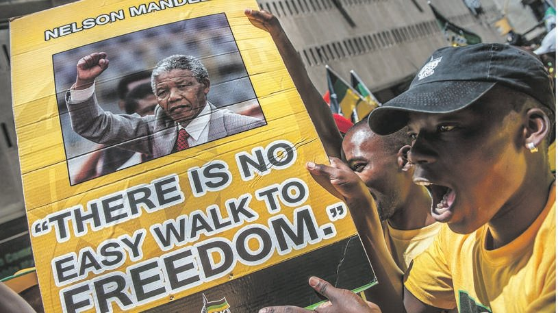 ANC supporters march inside Beyers Naude Square in 2014. Picture: Gallo Images / Conrad Bornman