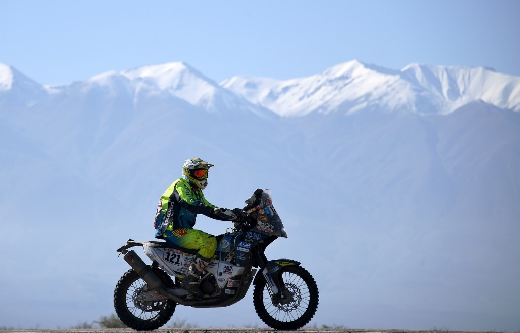 Dutch rider Edwin Straver gets ready with his KTM for the Stage 10 of the Dakar 2018 between Salta and Belen, Argentina, on January 16, 2018. File Photo.