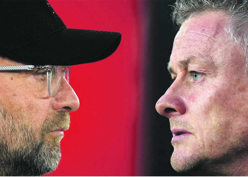 Liverpool manager Jürgen Klopp and his men take on Ole Gunnar Solskjær's Manchester United. Picture: Catherine Ivill / Mike Hewit / Getty Images
