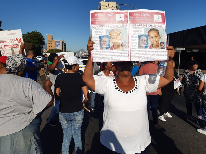 The scene outside the Goodwood Magistrate's Court where Moyhdian Pangarker is expected to appear for the kidnapping and murder of Tazne van Wyk, 8, on February 21, 2020.