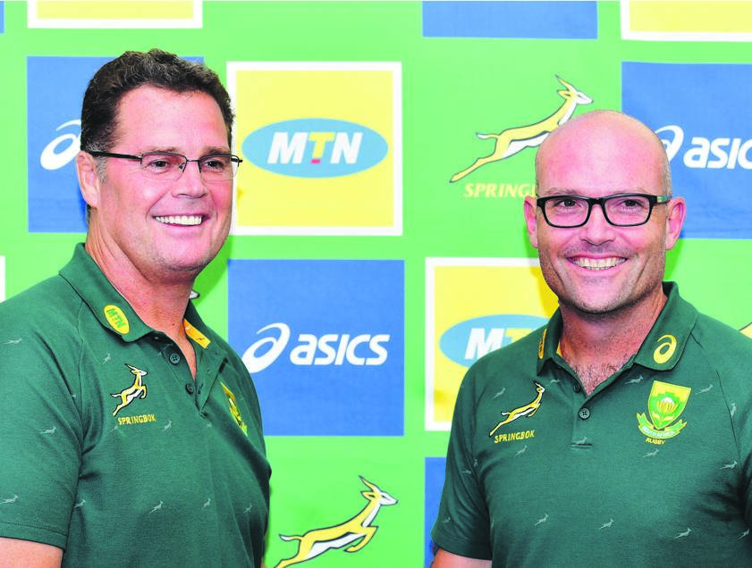 Director of rugby Rassie Erasmus welcomes new Bok coach Jacques Nienaber to the team in Pretoria on Friday. Picture: Johan Rynners/Gallo Images