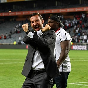 Orlando Pirates new head coach Josef Zinnbauer greets fans and take selfies during the Absa Premiership match between Orlando Pirates and AmaZulu FC at Orlando Stadium on January 25, 2020 in Johannesburg, South Africa.