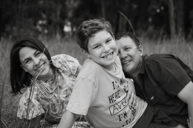 Adele Hand with her son Guillermo and husband Gideon. Adele says autistic kids need to know they are heroes. (Photo: Supplied)