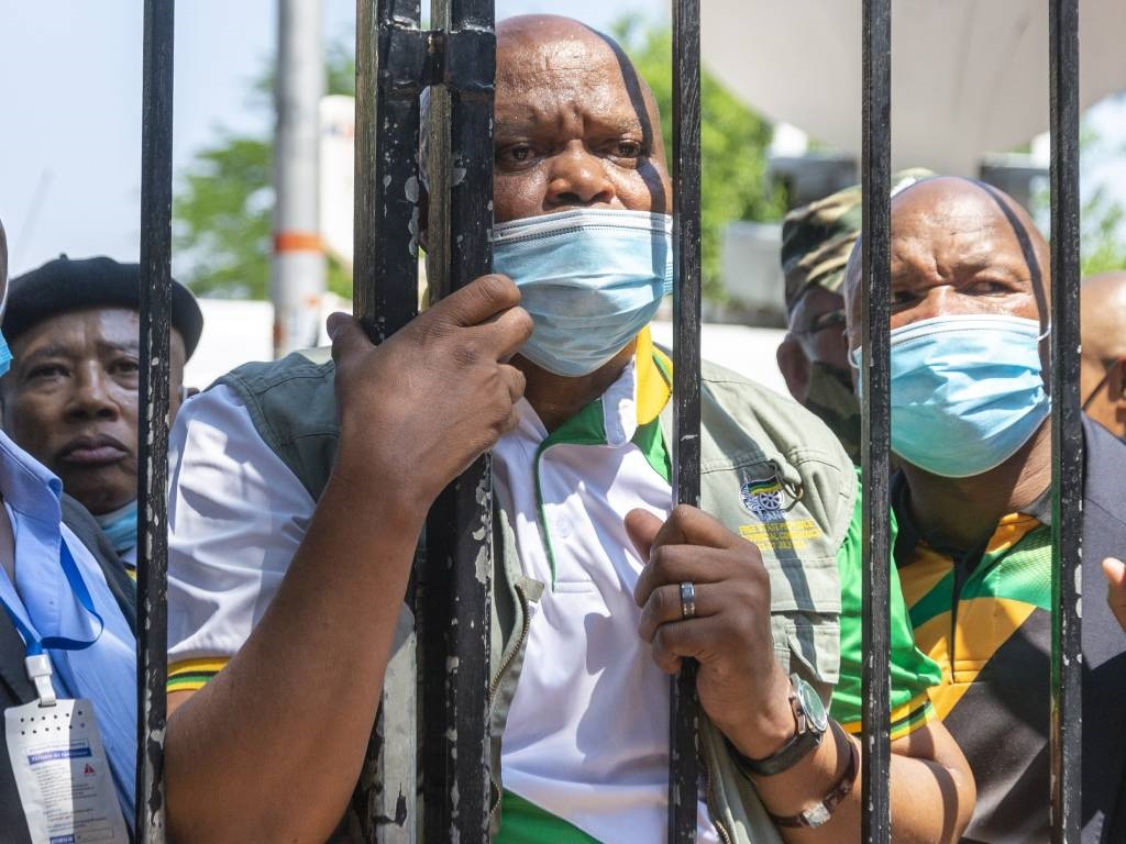 Free State MEC for Police, Roads and Transport Sam Mashinini is seen outside court where security would not allow him in where ANC Secretary-General Ace Magashule appears in Bloemfontein Magistrate Court.