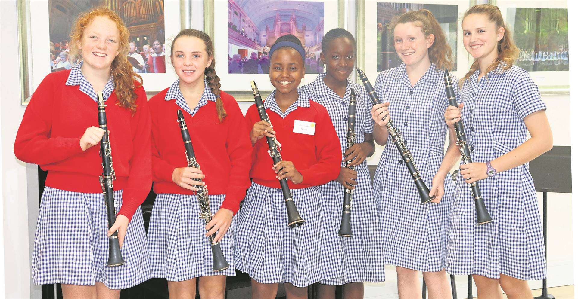 Epworth High School launched its Grade 8 Instrumental Programme in which all the Grade 8 pupils learn either piano, clarinet, or receive vocal training. At their first training lesson are (from left) clarinet lesson, Tori Little, Chloe Hatch, Busisiwe Nene, Jessica Monji Builu, Isobel Cobbold and Pippa Mitchell. PHOTO: SUPPLIED