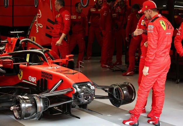 Ferrari F1 team. Image: Charles Coates / Getty Images
