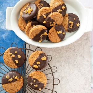 Chocolate-dipped ginger biscuits