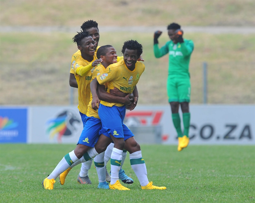 Promise Mkhuma of Mamelodi Sundowns celebrates goa