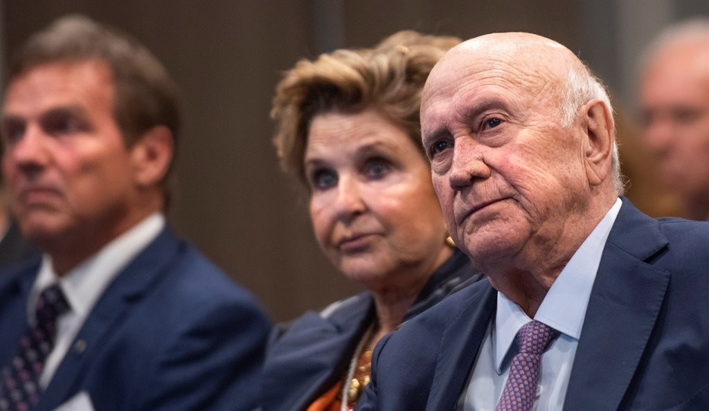 FW de Klerk and his wife Elita Georgiades at the FW de Klerk Foundation Conference in Cape Town on January 31, 2020. (Gallo Images, Brenton Geach)