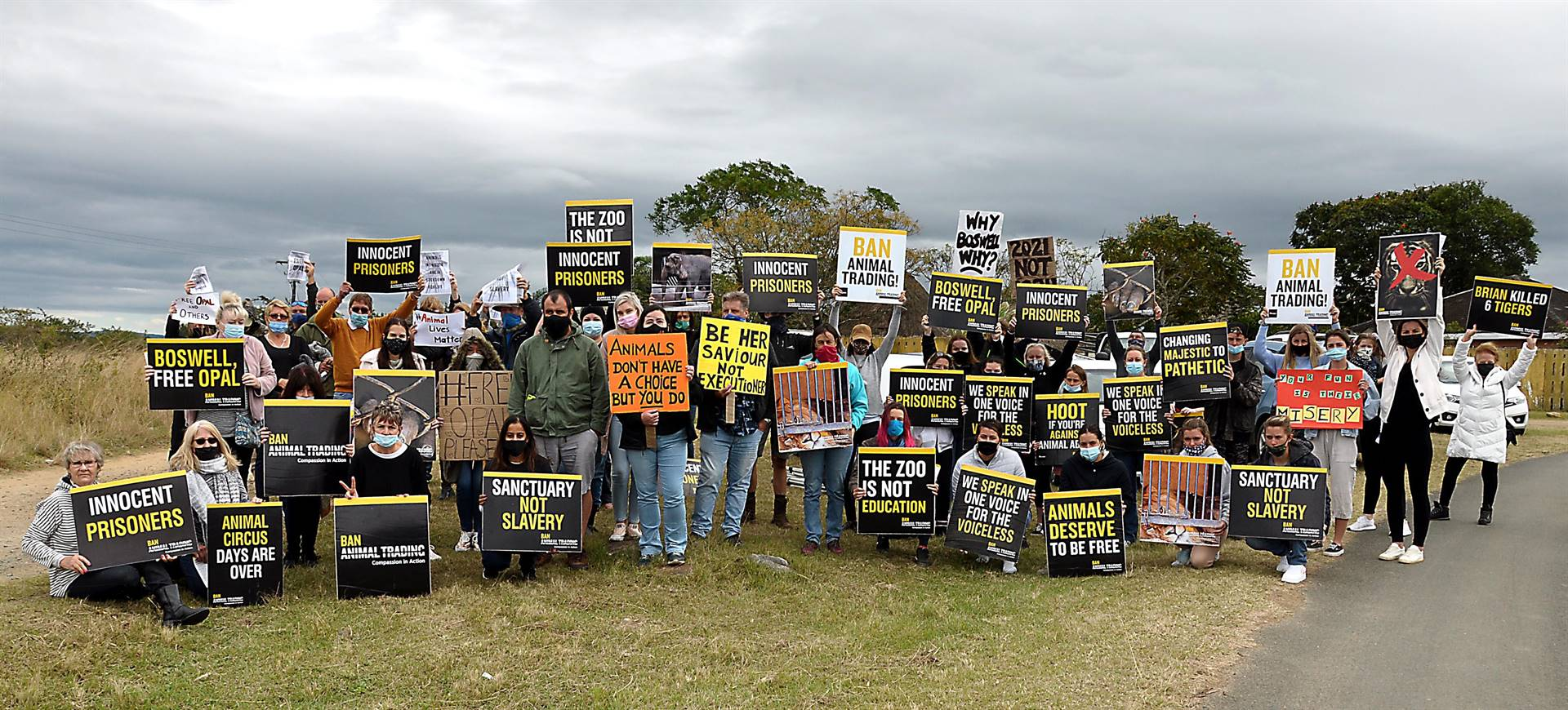 """Protesters gathered outside the Natal Zoological Gardens on Saturday morning to protest against wild animals in captivity with special reference to the """"solitary confinement"""" of Opal the orangutan. The event was organised by Ban Animal Trading (BAT) South Africa."""