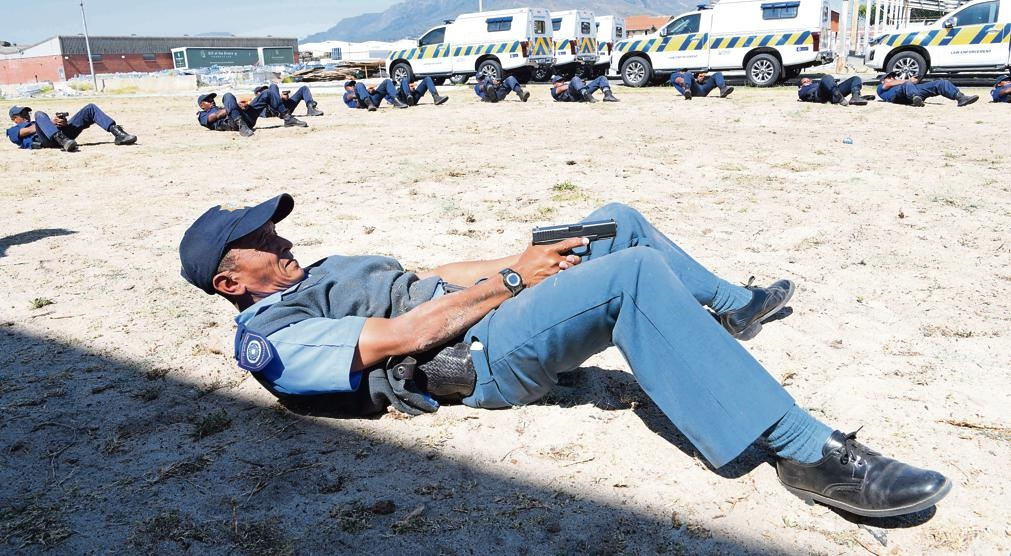 Learner law enforcement officers participate in stress exercises at the City's Metropolitan Police Department Training Academy in Ndabeni.