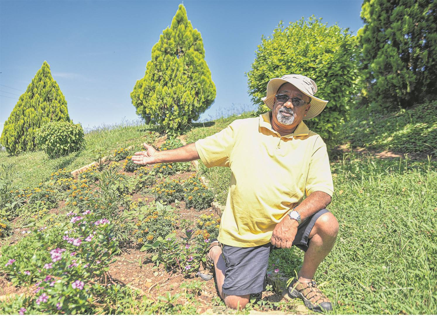 Pensioner Ash Haripersadh planted his own trees on municipal land to beautify the area. He pays thousands to maintain municipal land. PHOTO: Moeketsi Mamane