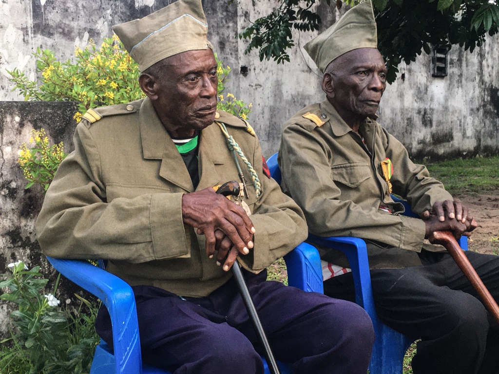 "Daniel Miuku, 94, (R) and Albert Kunyuku Ngoma,97, (L), the last survivors of the ""Force Publique"", the Belgian colonial army that fought all the way to Asia during the Second World War.