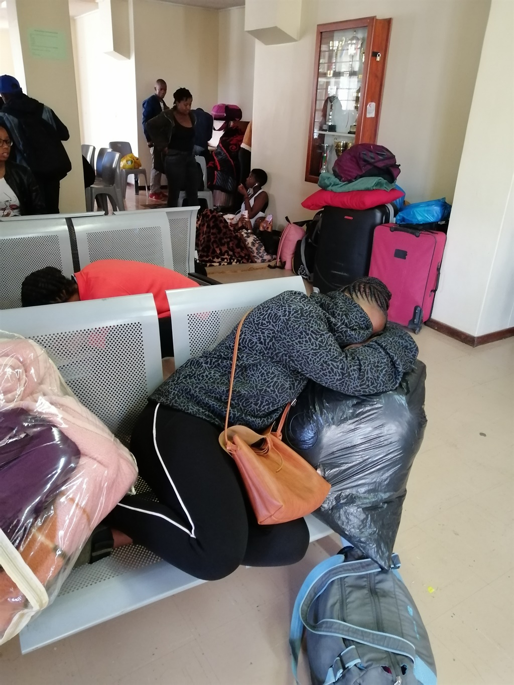 CPUT students sleeping on chairs as they await accommodation.