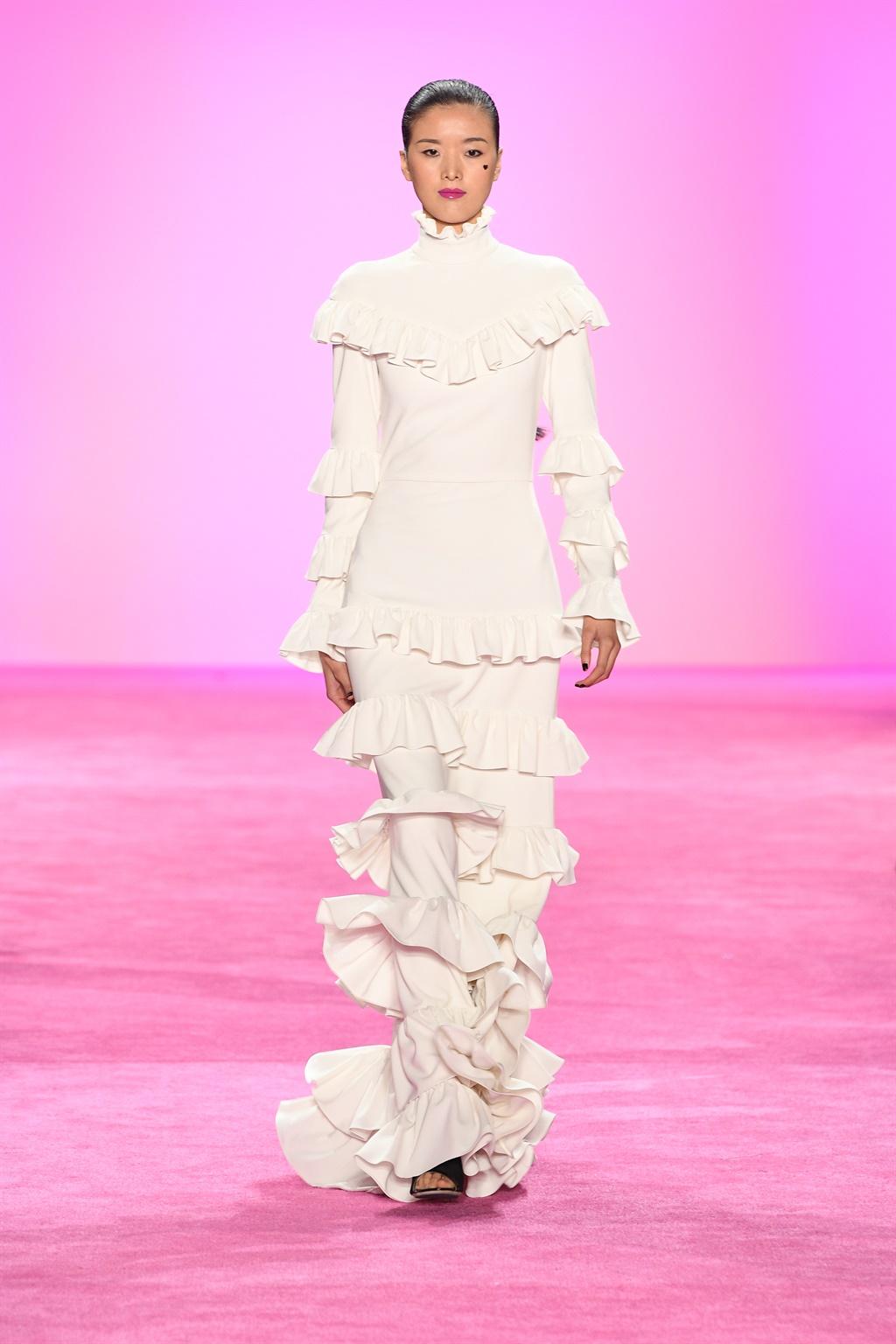 NEW YORK, NEW YORK - FEBRUARY 06: A model walks th