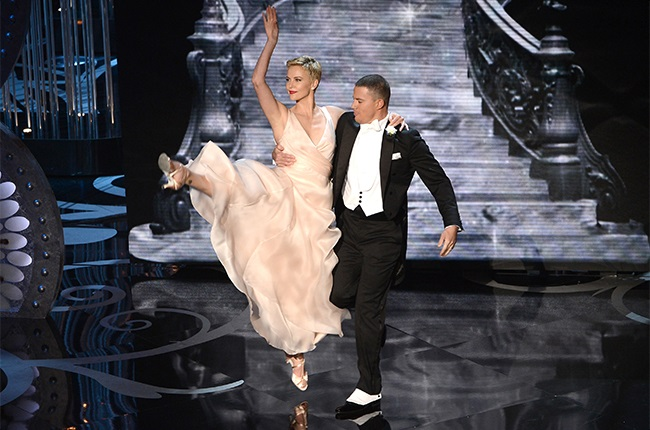 Charlize Theron and Channing Tatum perform onstage during the Oscars on 24 February 2013.