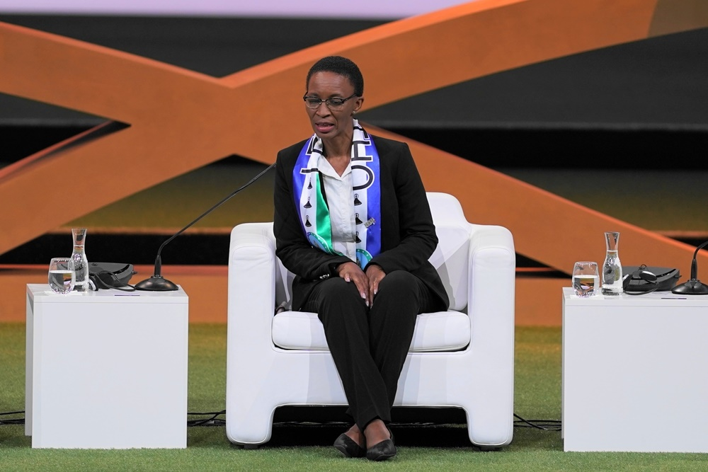 Dr Mahali Phamotse, Minister of Gender and Youth, Sports and Recreation of Lesotho, speaks on stage during the FIFA Womens Football Convention on June 7, 2019 in Paris, France.