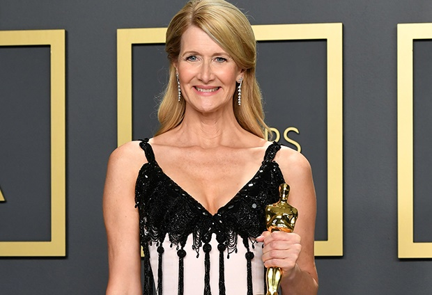 Laura Dern poses with the award for Best Actress i