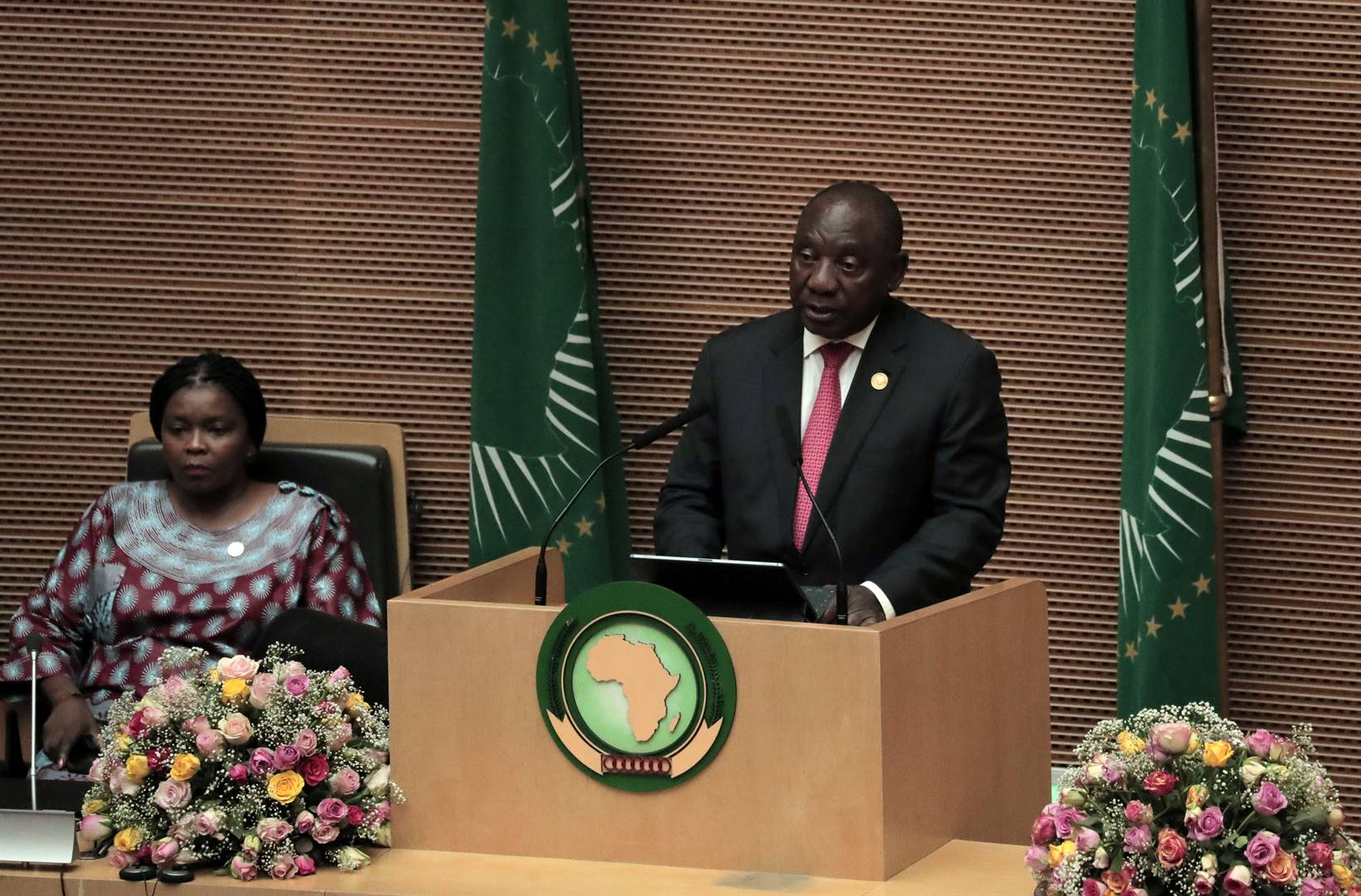 President Cyril Ramaphosa addresses the opening of the 33rd ordinary session of the assembly of the heads of state and the government of the African Union (AU) in Addis Ababa, Ethiopia, February 9, 2020. Picture: Tiksa Negeri/Reuters
