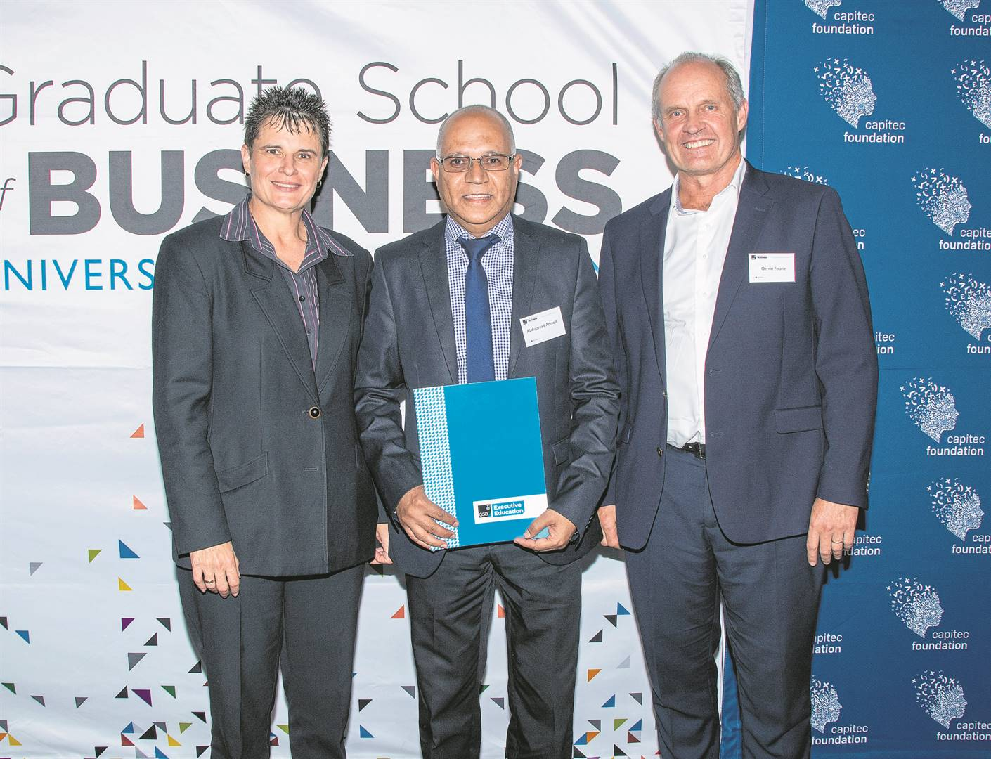 Dr Elanca Shirley, UCT GSB course convenor, is with Abdusamad Ahmed, principal of Spes Bona High, and Gerrie Fourie, CEO of Capitec Bank.