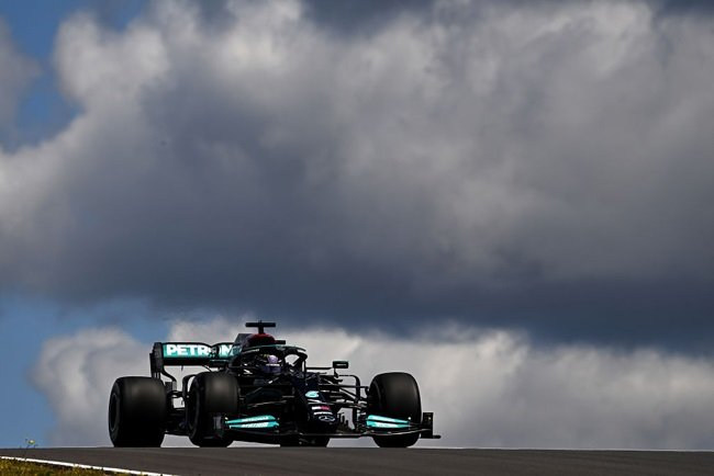 Lewis Hamilton of Great Britain driving the (44) Mercedes AMG Petronas F1 Team Mercedes W12 during practice ahead of the F1 Grand Prix of Portugal at Autodromo Internacional Do Algarve on April 30, 2021 in Portimao, Portugal.