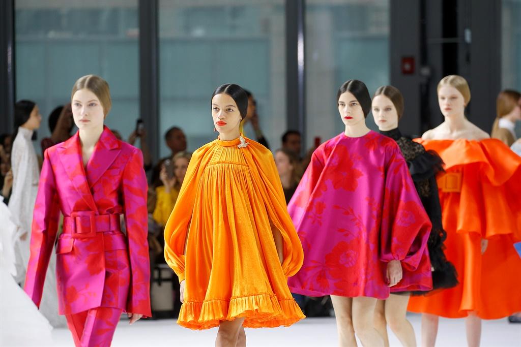 NEW YORK, NEW YORK - FEBRUARY 10: Models walk the
