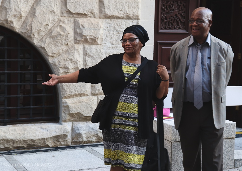 Speaker of the National Assembly Thandi Modise and chairperson of the National Council of Provinces Amos Masondo on the Parliamentary precinct on Wednesday evening. (Jan Gerber, News24)