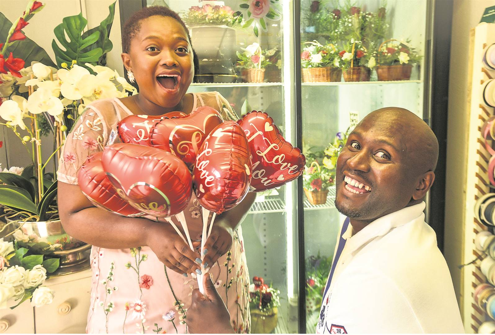 Emafini Nobaza presented his partner, Leza Duntsu, with a 'bouquet of balloons' in readiness for Valentine's Day.PHOTO: moeketsi mamane