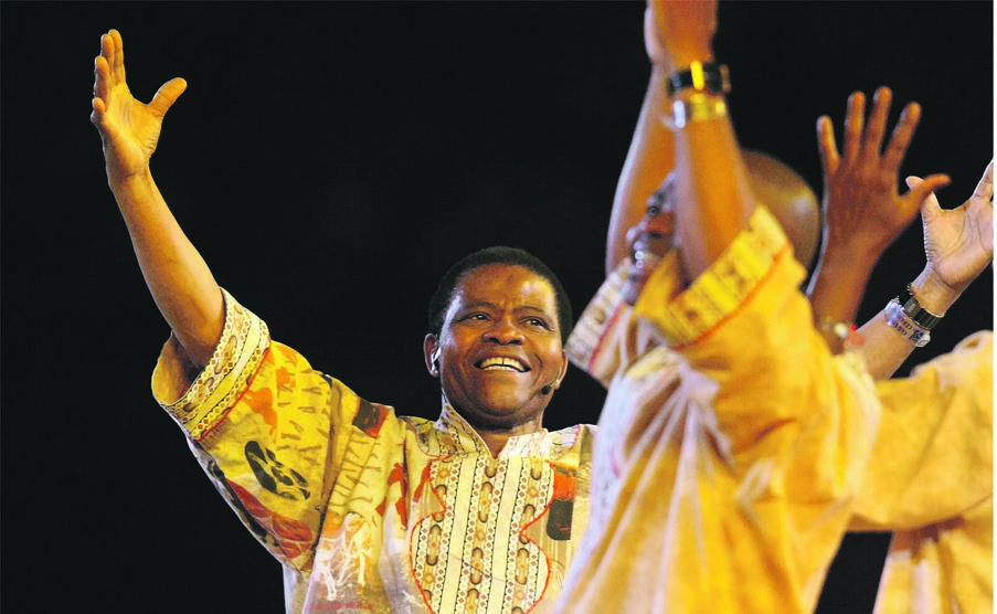 Timeless hero Joseph Shabalala performs at the closing ceremony of the 2010 World Cup final between Netherlands and Spain at FNB Stadium in Soweto. Picture: Ian Carbutt