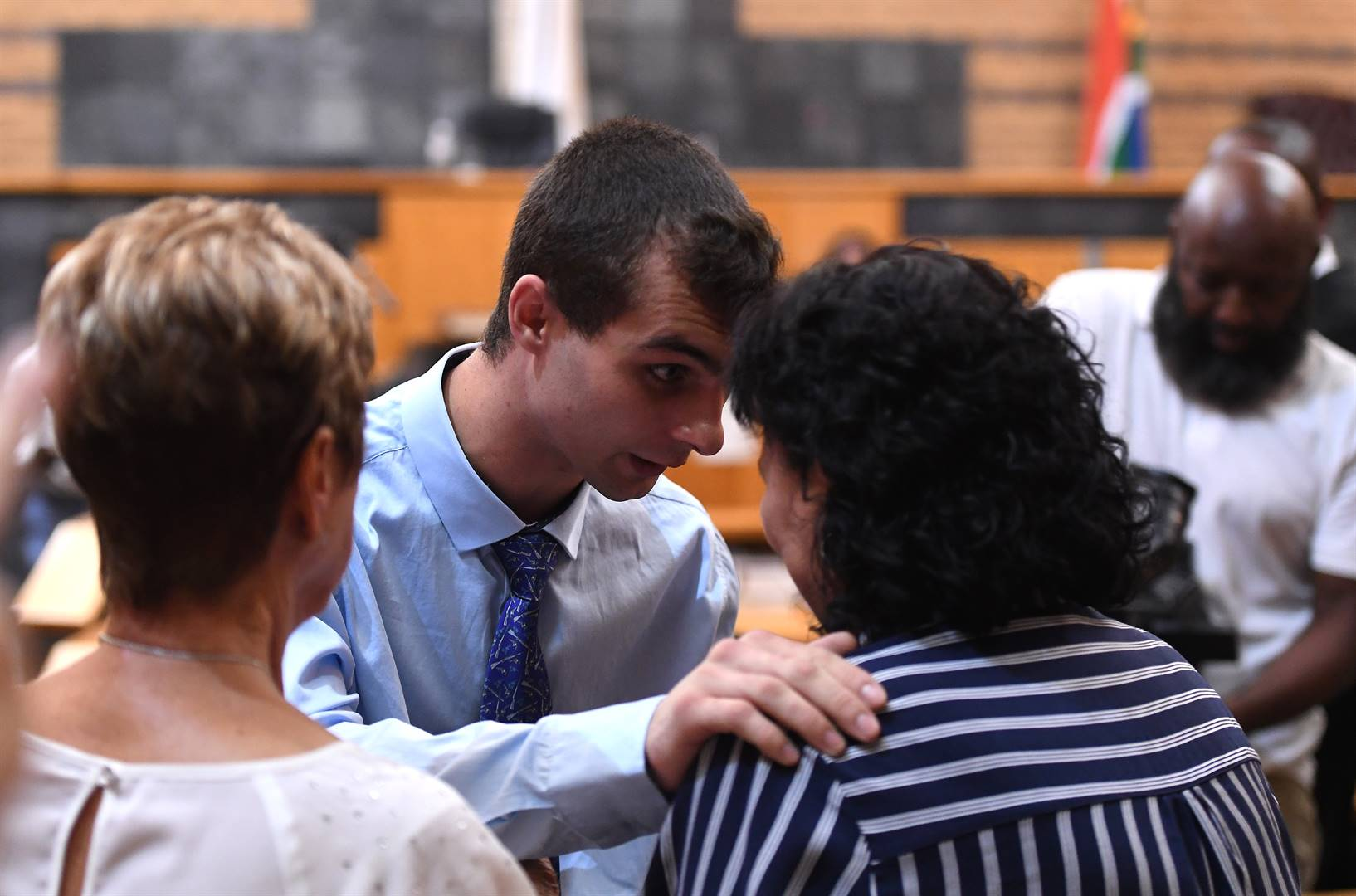 Xander Bylsma talks to his mother Mercia after being found guilty on Monday.