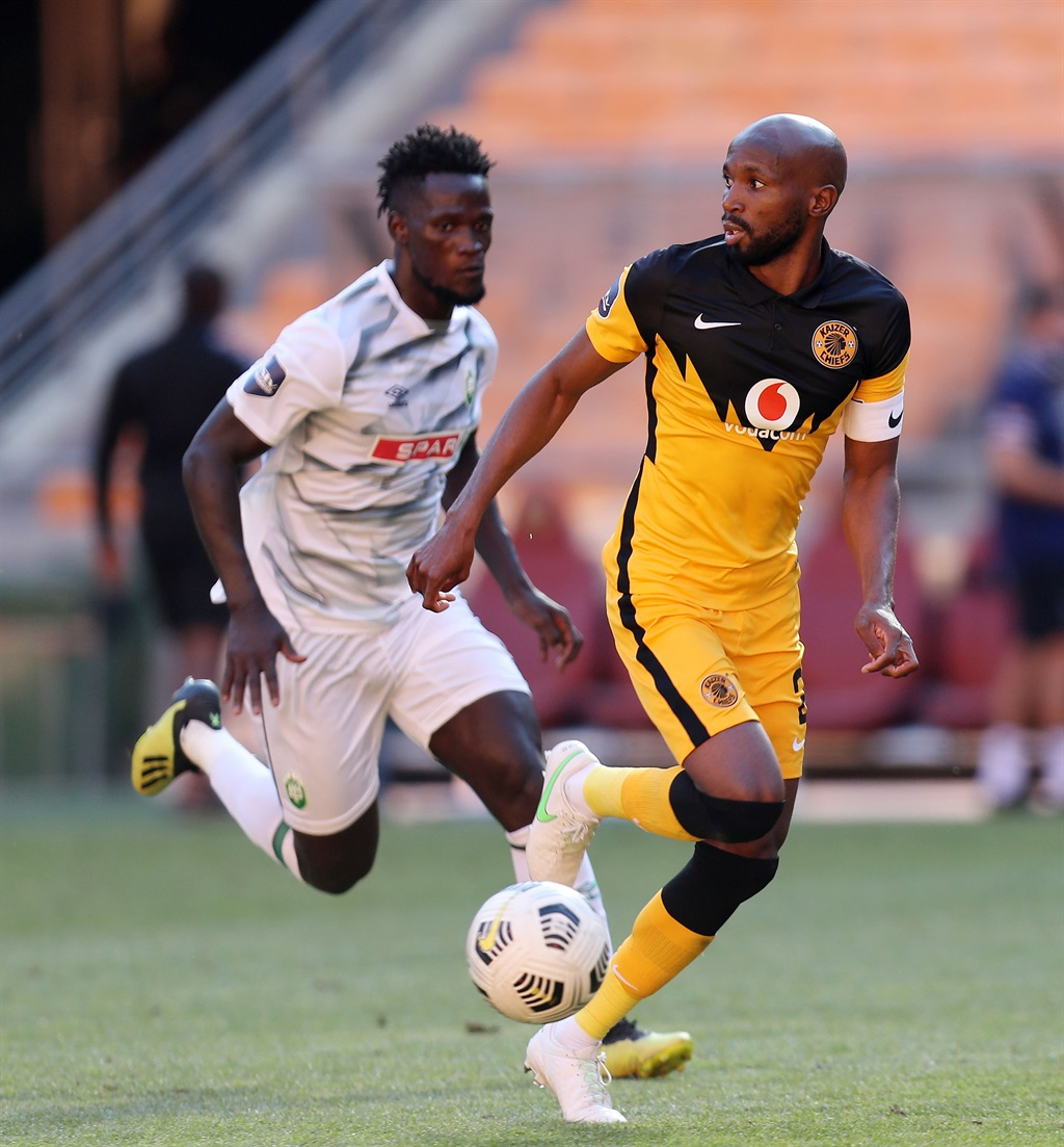 Ramahlwe Mphahlele of Kaizer Chiefs challenged by