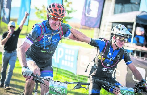 Howick cyclist Arthur Duncan with his grandson Keira, when they took part in the KAP sani2c race together.