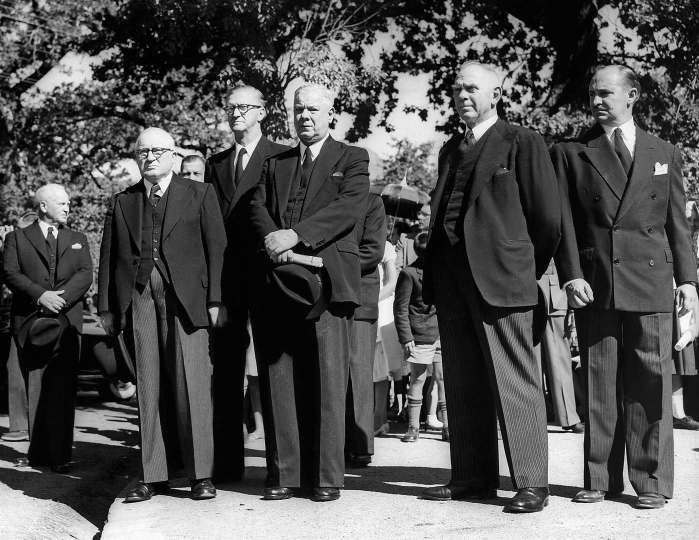 The bad old days: February 1959. Former South African Prime Minister, DF Malan's, funeral in Stellenbosch. In the centre is the then new Prime Minister, Hendrik Verwoerd. (Media24)