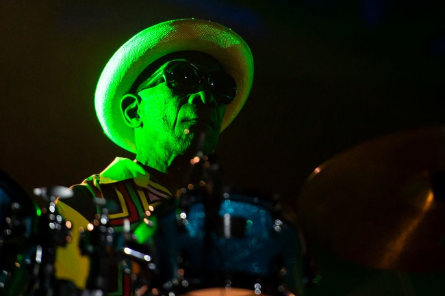 Drummer Tony Allen performs live with Dj and producer Jeff Mills at AFRICA NOW in Turin, Italy.  (Photo by Giorgio Perottino/Getty Images)