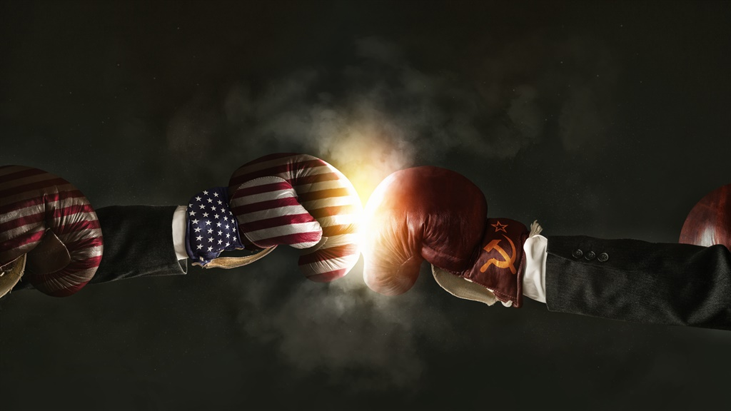 Generated graphic view of America and Russia boxing.