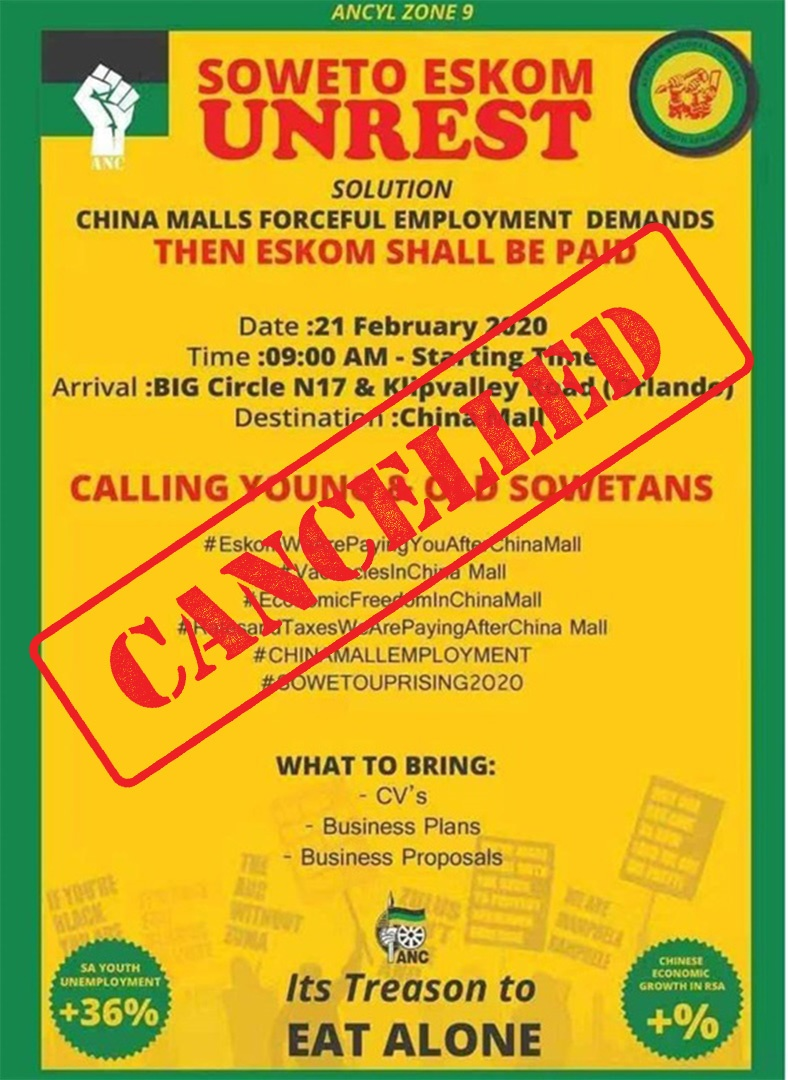 How Chinese quashed ANC Youth League protest against businesses