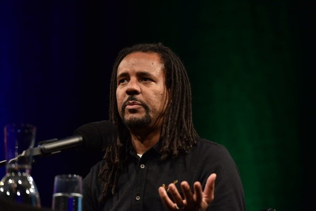 Writer Colson Whitehead reading at Lit. Cologne in 2019 (Photo: Horst Galuschka/ Getty)