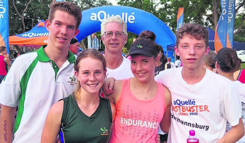 photo: SUPPLIED Hermannsburg's athletes (from left) are Sven Meyer, Jemma Hayward, Kirsten Rabe and Luka Poser, with Mike Terry (back).