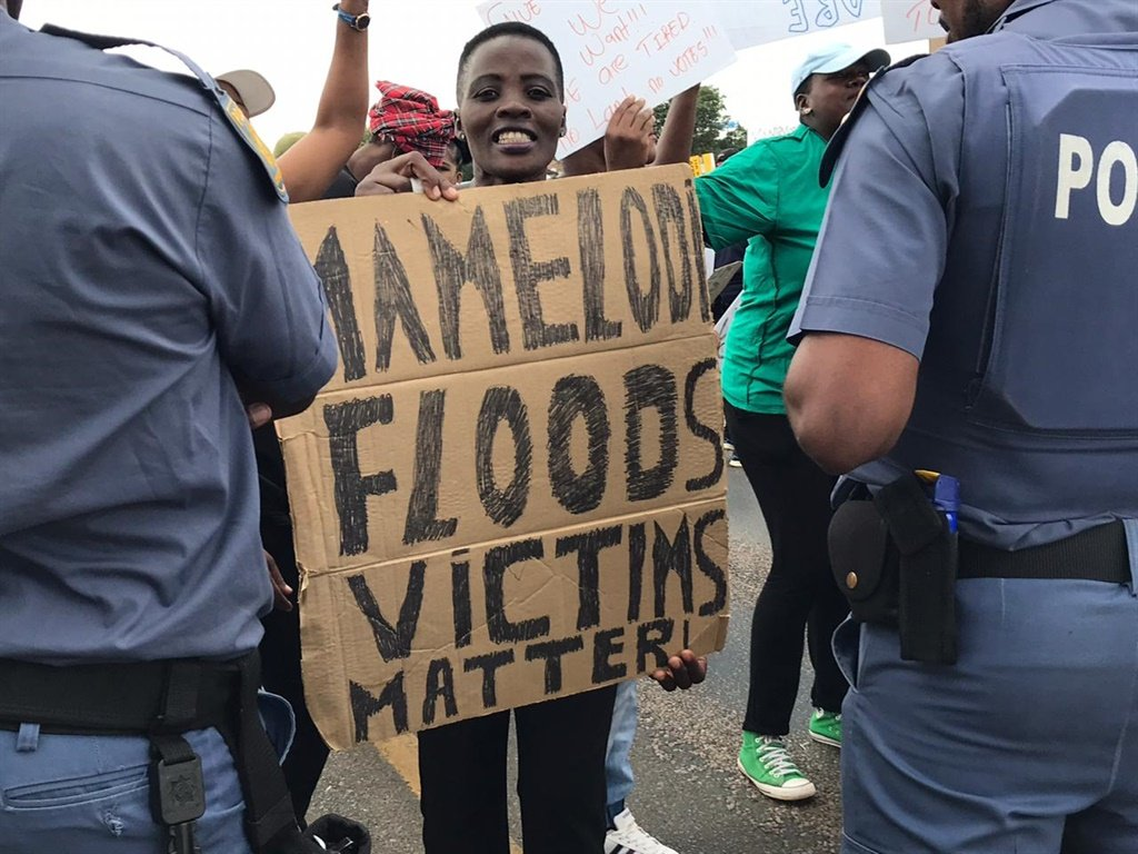 File photo - Mamelodi flood victims protest outside the Gauteng SOPA in February 2020.