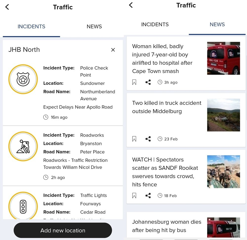 news24 app feature traffic combined