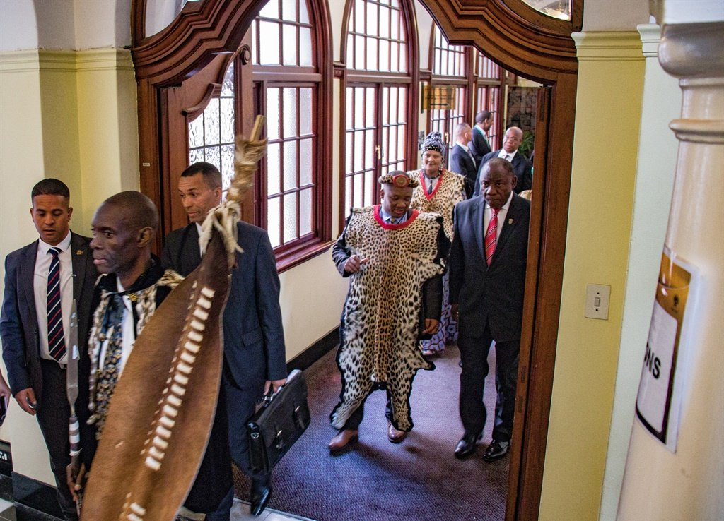 Chairperson of the National House of Traditional Leader Sipho Mahlangu and President Cyril Ramaphosa on their way to the Old Assembly Chamber, where Ramaphosa addressed the traditional leaders on Tuesday. (Jan Gerber/News24)