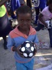 Sponsored soccer ball - you fill it with plastic rubble